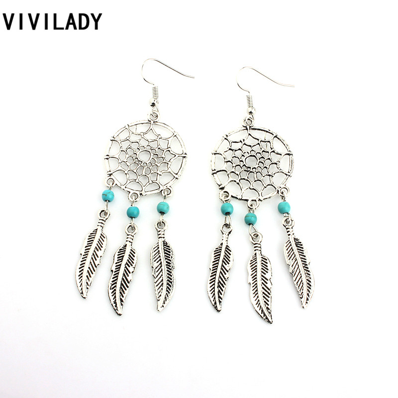 9f0ee099ea6b Vivilady moda Dream Catcher Plumas Pendientes de gota vintage plata color  azul piedra joyería regalos mujer bijoux Accesorios