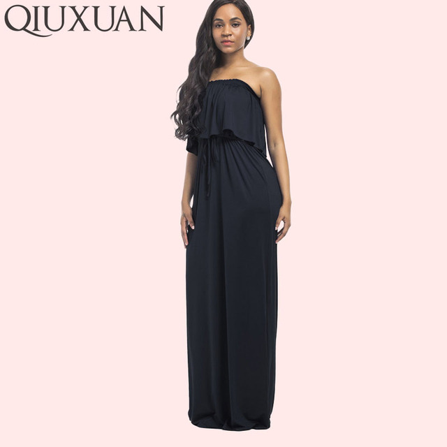 Qiuxuan Plus Size Off Shoulder Dress Summer Sleeveless Double Layer