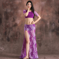 New Women'S Belly Costume For Dancing Black Purple Blue Sexy Lace Modal Costumes For Oriental Dances Tops/Skirt 2 Pieces DL2225