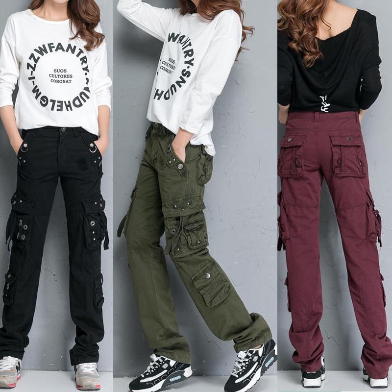 Pantalon Femme Spring 2019 Women Straight Multi pocket Cargo Pants Ladies Fashion Workout Trousers Pantalones Mujer