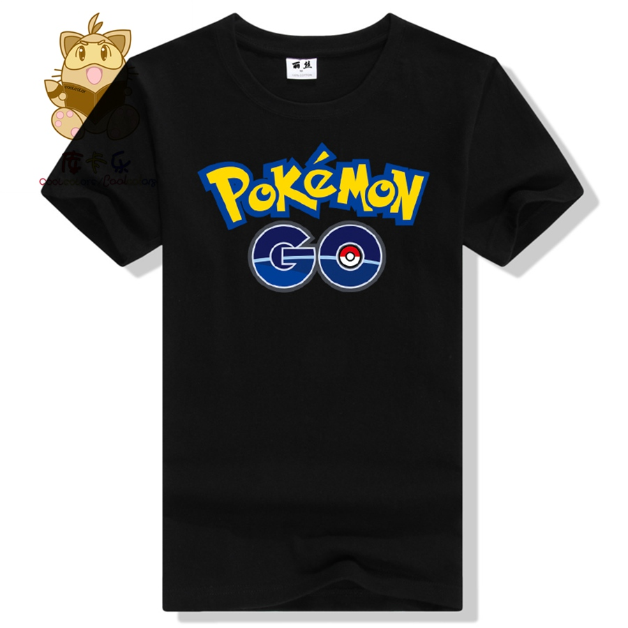 Worlds hot mobile game Pokemon Go logo priting cotton tee shirt mens t shirt pokemon go AC124 Pokemon trainer t shirt