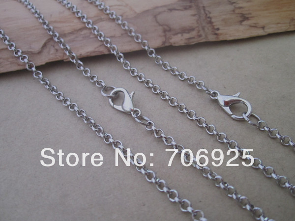 2mm 18inche white K round shape Link chain with Lobster clasp 40pcs lot in Chain Necklaces from Jewelry Accessories