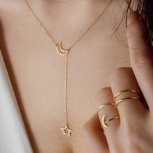 SUKI Simple Hollow Star Moon Pendant Necklace For Women New Bijoux Maxi Statement Necklaces Collier Fashion Jewelry