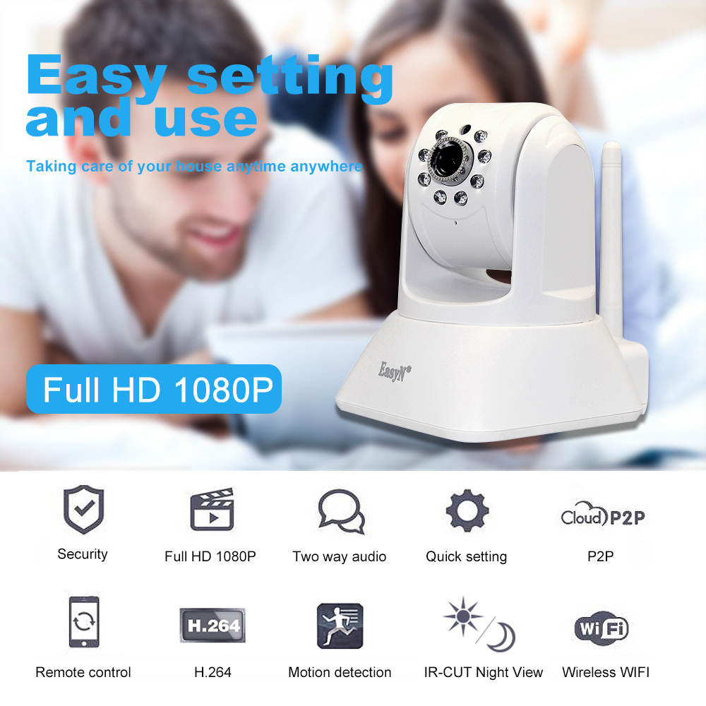 EasyN 1080P Wireless WIFI HD IP Camera Two way Audio Night Vision Phone APP Control Security