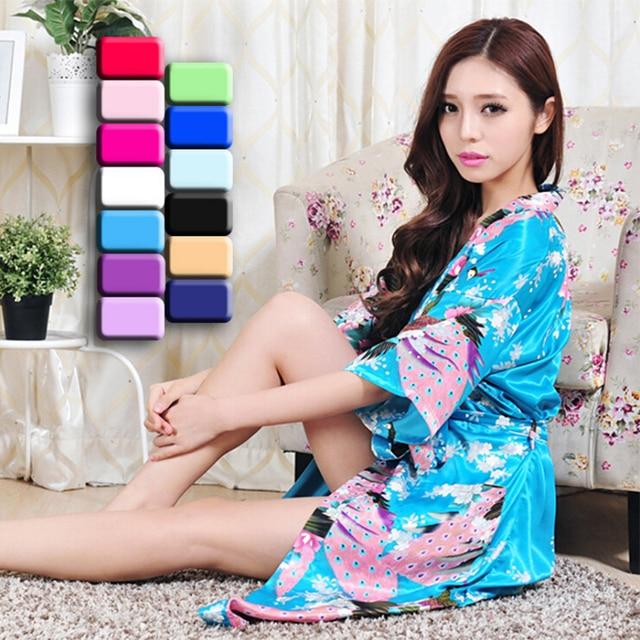 Мода hot girls женщин шелковые одеяния соответствия мать и дочь одежда 11 цвета пятно халаты кимоно повседневная халаты продажи