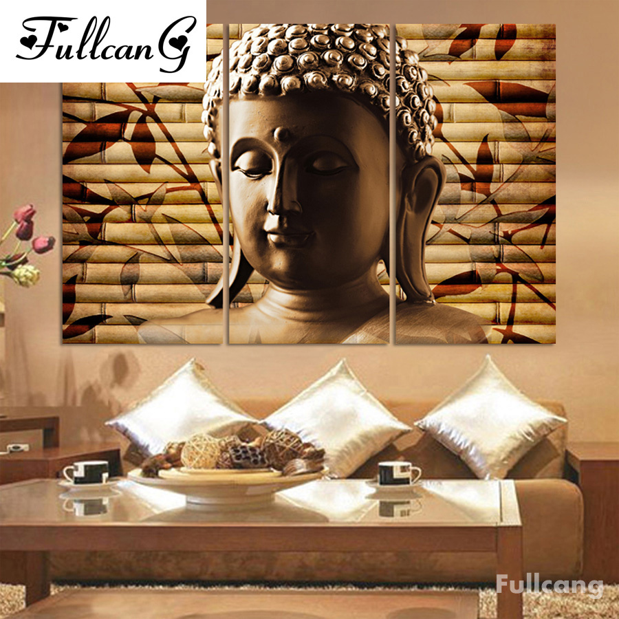 FULLCANG Buddha triptych diy diamond painting cross stitch religious full square diamond embroidery people mosaic painting E602 in Diamond Painting Cross Stitch from Home Garden