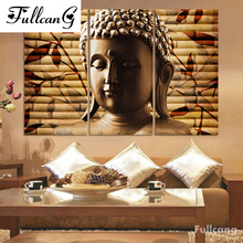 FULLCANG Buddha triptych diy diamond painting cross stitch religious full square embroidery people mosaic E602