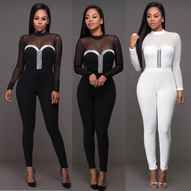 Mujeres Sexy Negro/Blanco Rhinestone Malla Transparente de Manga Larga de Cuello Alto Bodycon Mono Ladies Clubwear Pantalones Largos Trajes de Cuerpo