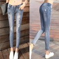 Size 26-32 Women Fashion Skinny Ankle-length Ripped Patched Jeans Vintage Denim Trousers Elastic Slim Casual Pencil Pants