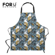 купить FORUDESIGNS Floral Squirrel Print Cooking Apron for Women Long Female Ladies Kitchen Chef Aprons Funny Bib Baking Apron дешево