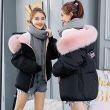 B 2020 krótka kurtka podszyta bawełną moda zimowa kurtka na futrzany kołnierz damski płaszcz kobiety czarna damska kurtka Parka