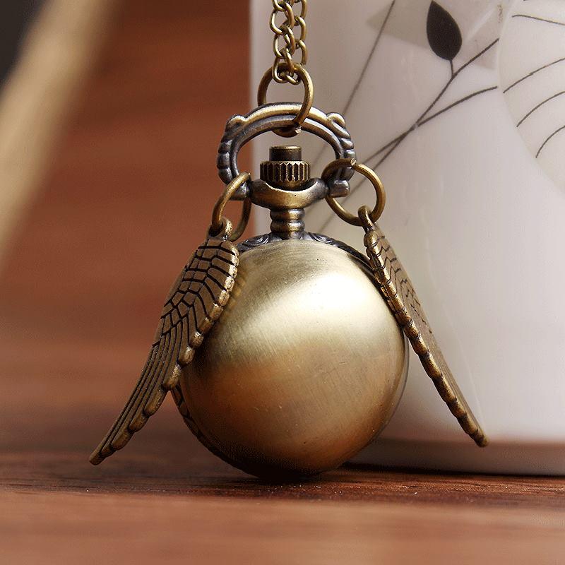 Bronze Retro Wing Spider Webs Ball Metal Steampunk Small Men Quartz Pocket Watch Pendant Necklace Chain Women Mens Fashion Gifts