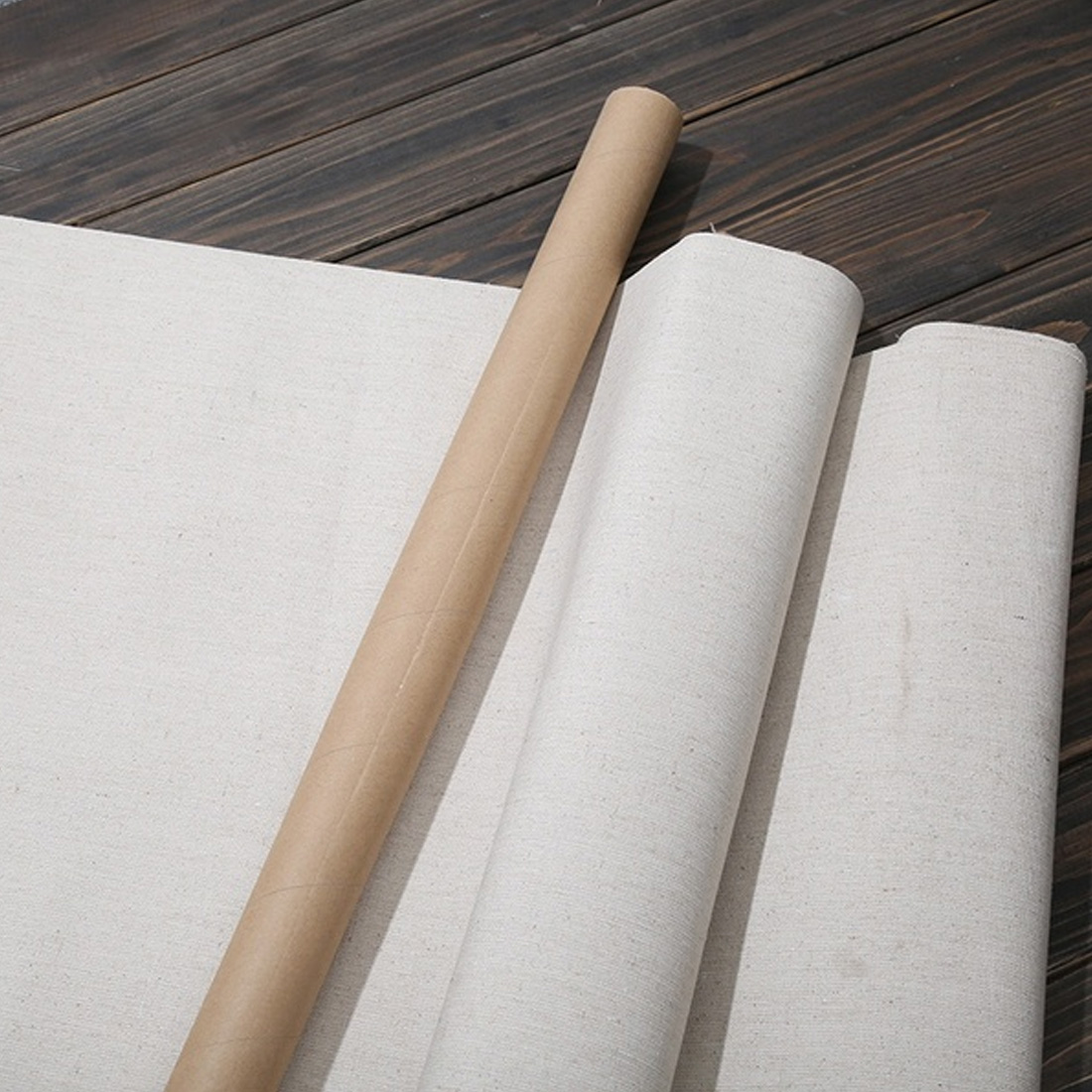 1M Linen Blend Primed Blank Canvas Layer Oil Painting Canvas acrylic painting 1m One Roll ,28/38/48/58 Width image