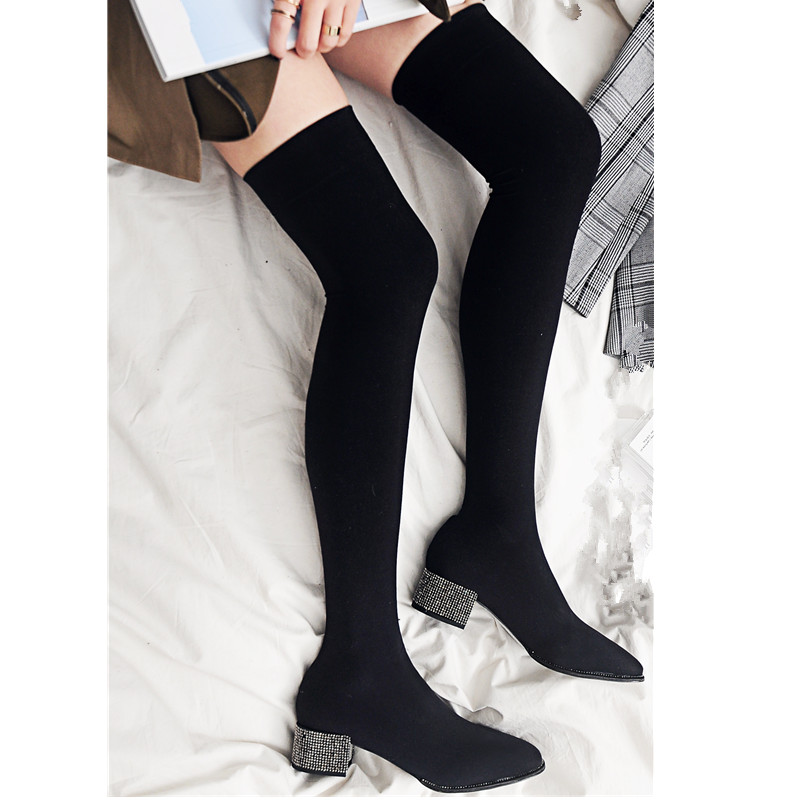 Prova Perfetto New Fashion Crystal Heel Over The Knee Boots Women Stretch Suede Boots Round Toe Mid Heel Boots Ladies Sock Boots