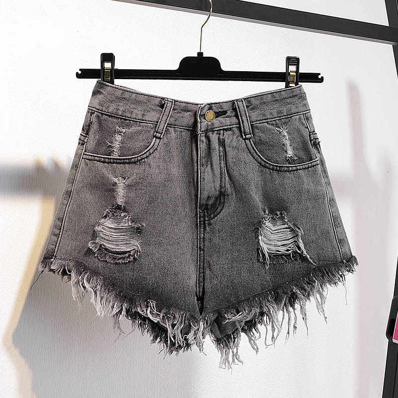 Летние женские шорты размера плюс, мода 2019, новинка, рваные, высокая талия, женские джинсовые шорты, тонкие, свободные, женские короткие штаны JIA218