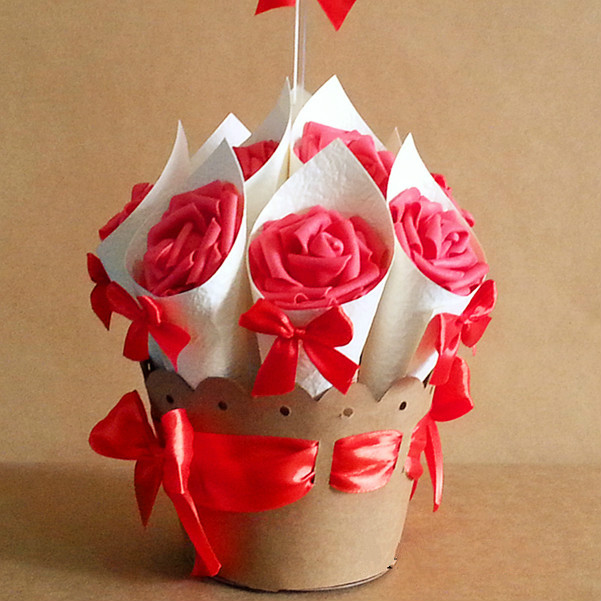 3 Sets 30pcs European Red Rose Retro Kraft Paper Flower Pot White