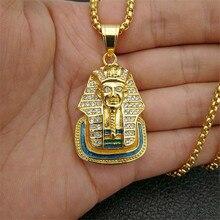 Egipt faraon sfinks wisiorek ze stali nierdzewnej stalowy łańcuch i mrożony błyszczący naszyjnik z cyrkoniami Hip Hop egipski biżuteria