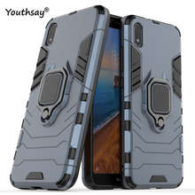 For Xiaomi Redmi 7A Case Metal Finger Ring Kickstand Hard Bumper Phone Funda Youthsay