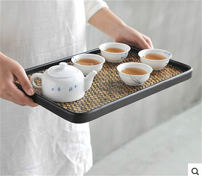 Baking varnish bamboo tray bamboo tea table Cup holders Kung Fu Tea Accessories hand made all natural Crafts home decoration