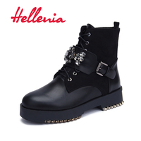 Hellenia Women's Shoes Autumn New Boots Martin Short boot PU Leather Lace up Ankle Buckle Stone Thick Heel Motorcyle Shoes