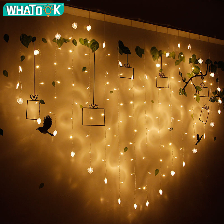 buy online 1aab7 0962e US $16.67 40% OFF|2x1.5M Heart Shape LED Christmas Lights for Weeding Love  Home Decoration 128 LEDs Icicle Curtain Fairy String Lights-in LED String  ...