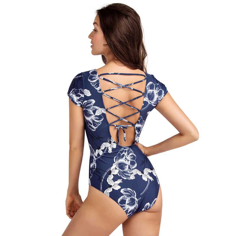 Axesea Wanita Satu Potong Baju Renang Retro Sleeveless Pakaian Renang Renang Cetak Baju Renang Seksi Kembali Criss Cross Tali Pakaian Renang