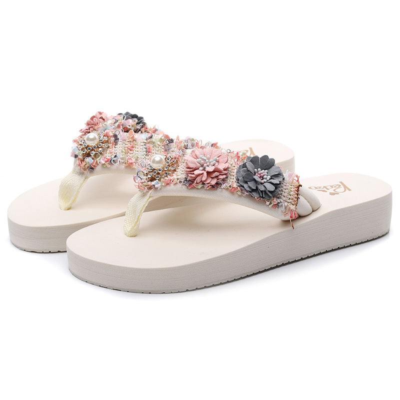 Slippers female fashion outside thick bottom anti skid flip flops seaside flowers beach Shoe tide luxury shoes women designers in Flip Flops from Shoes