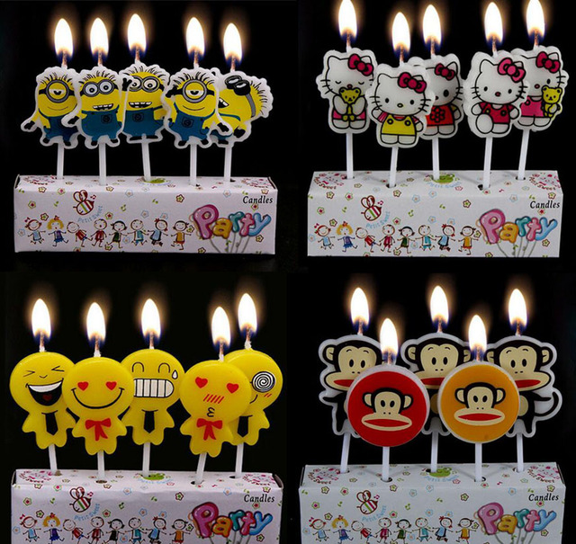 2017 New Arrival Creative Cartoon Classic Minions Kitty Cat Monkey Novelty Cake Candles Topper Vintage