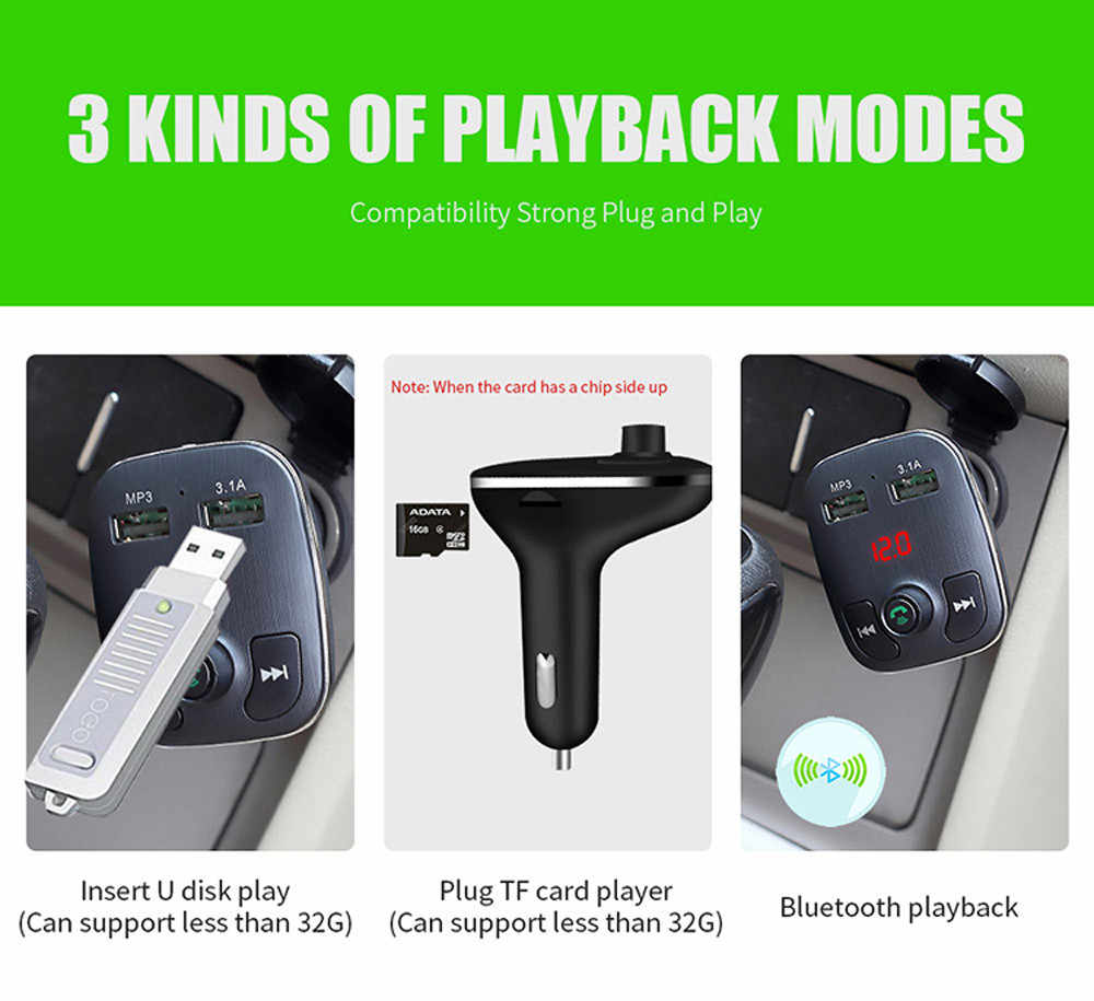 3.4A podwójna ładowarka samochodowa USB nadajnik Bluetooth FM modulator FM głośnomówiący samochodowy odtwarzacz MP3 TF USB muzyka akcesoria samochodowe