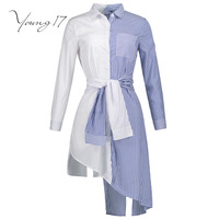 Young17 Fall Blouse Women Shirt Striped Patchwork Long Sleeve Button White Blue Beauty Sexy Cool Wrap
