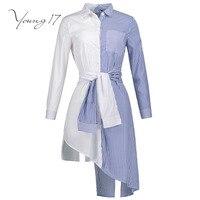 Young17 الخريف بلوزة المرأة قميص مقلم خليط طويلة الأكمام زر الأبيض الأزرق الجمال مثير بارد التفاف 2017 جديد فتاة بلوزة قميص