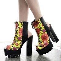 Brand New 2015 European Goth Punk Open Toe High Heel Platforms Sandals Floral Print Front Zip