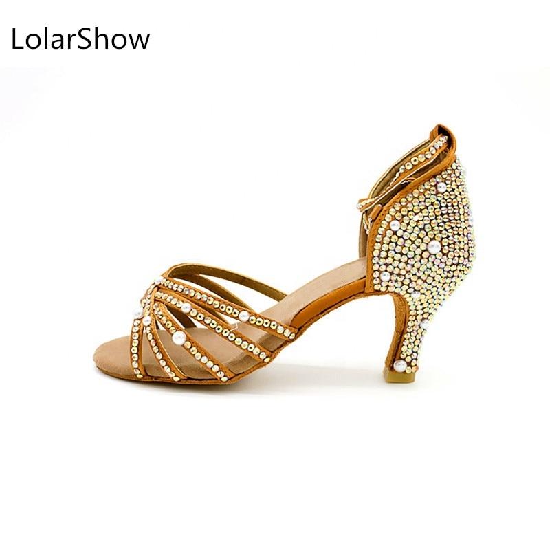 Nude Latin Dance Shoes New Shiny Diamond Slip Resistant Wear High Quality Classic Latin Ballroom Shoes