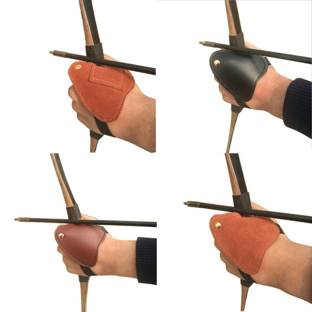 1pc New Archery Left Hand Finger Guard 2 Finger Arrow Leather Protect Glove Guard Outdoor Hunting Shooting Accessories