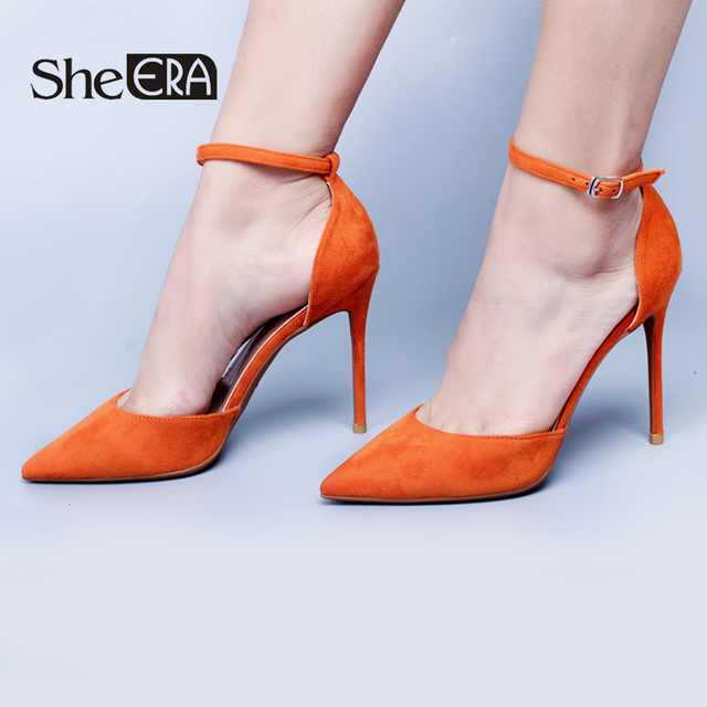 She ERA New Womens Pumps Pointed Toe Flock Leather High Heels Sexy Ankle  Strap Sandals Pumps Ladies Party Wedding Shoes 6c588ae0baf3