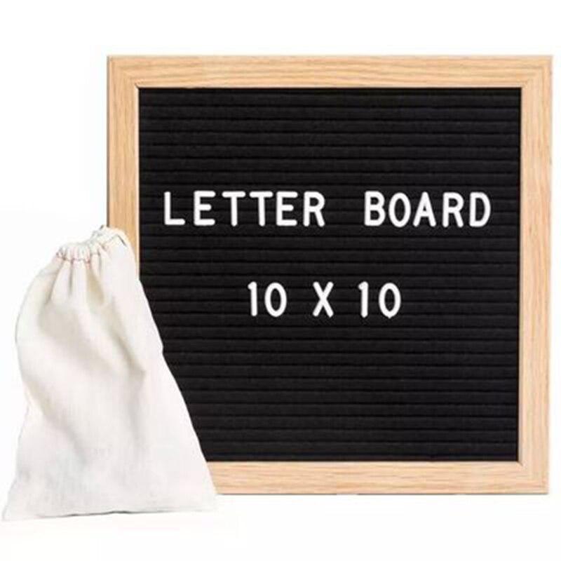 Felt Cloth Message Board Decoration Blackboard Wooden Frame White Letter Symbol Number Character Bag
