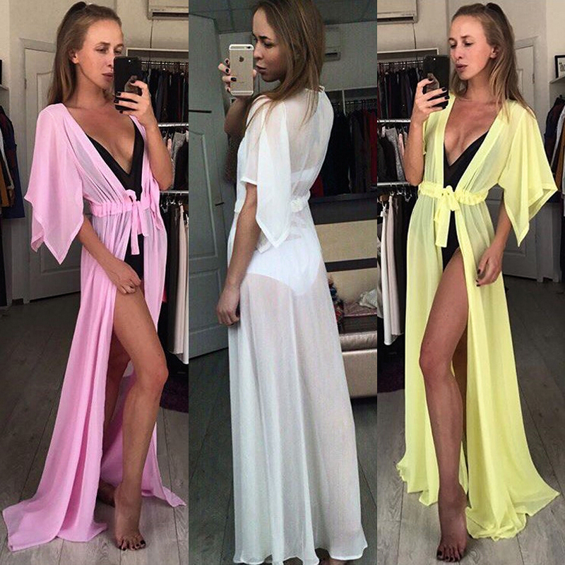 Summer Beach Dress Women Robe Bikini Cover Ups Sexy Tunic Kaftan Chiffon See-through Swimsuit Long Dress Beachwear