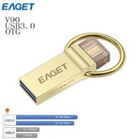 Eaget v90 골드 otg usb 3.0 usb 플래시 드라이브 스마트 전화 태블릿 64 기가바이트 32 기가바이트 16 기가바이트 펜 드라이브 외부
