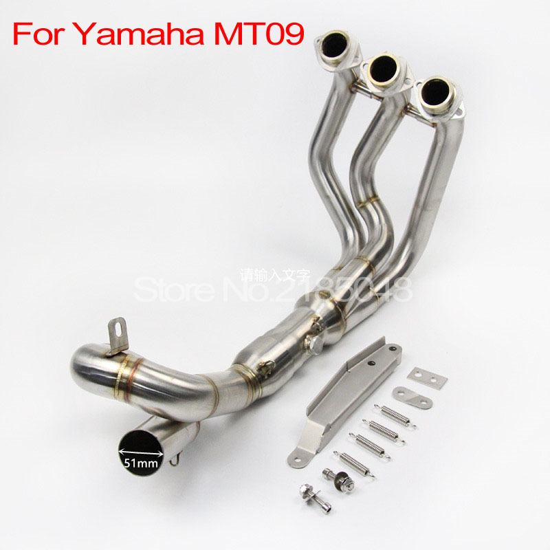 51mm ID MT09 FZ09 Motorcycle Exhaust Muffler Modified Scooter Front Pipe Slip-On Muffler Exhaust For YAMAHA MT-09 FZ09 2014-2017