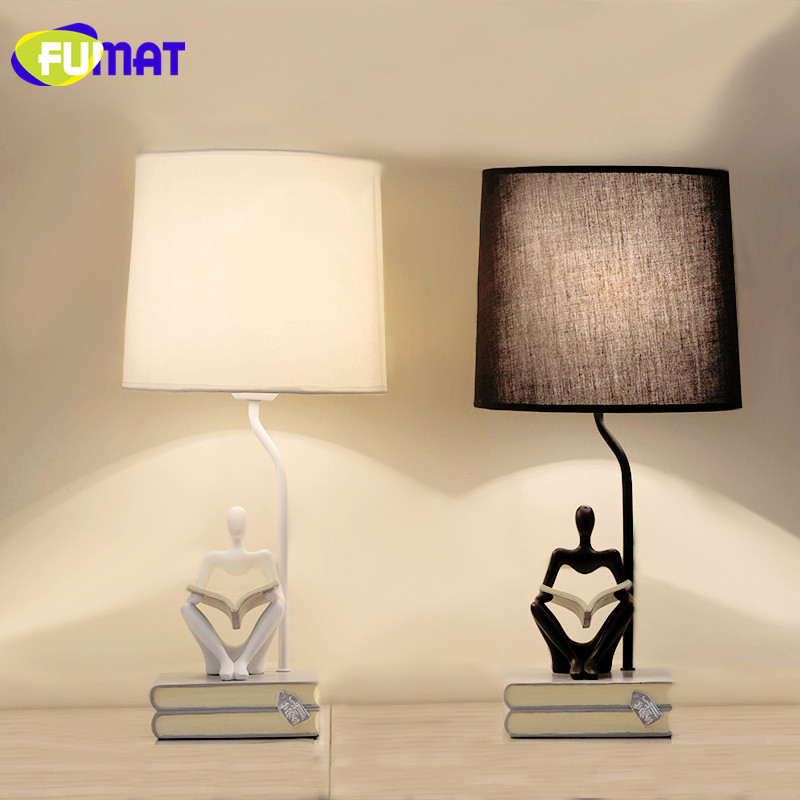 FUMAT European Simple Table Lamp Bedroom Decoration Luminarias Bedside Lamp Fashion Cloth Shade Table Light with Resin Book Base