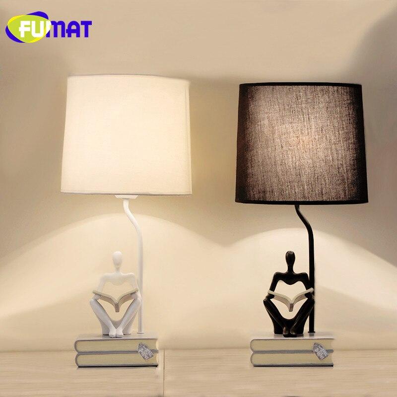 Lampe de Table Simple européenne FUMAT décoration de chambre lampe de chevet Luminarias lampe de Table en tissu avec Base de livre en résine