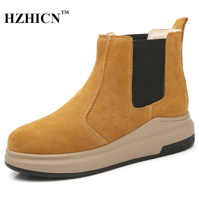 Women Snow Boots Winter New Shoes with Plush Fur Casual Ankle Boots Luxury Brand Suede Leather Womens Boots Cuissardes Moccasins new winter autumn brand luxury women shoes flats suede leather warm snow casual zapatillas mujer plush timber shoes for lady