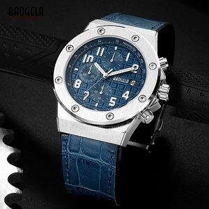 Image 4 - Baogela Mannen Nieuwe Quartz Horloges 2019 Waterdicht Chronograaf Casual Lichtgevende Polshorloge Man Lederen Band Relogios 1805 Blauw
