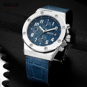 Image 4 - Baogela novos relógios de quartzo masculino 2019 cronógrafo à prova dwaterproof água relógio de pulso luminoso casual homem pulseira de couro relogios 1805 azul