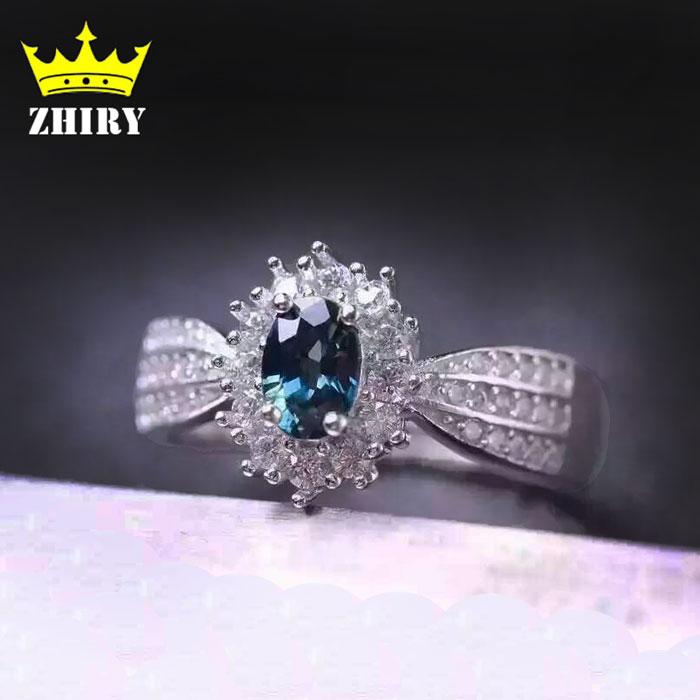 Anello con pietra di zaffiro naturale, gemma in argento massiccio - Gioielli