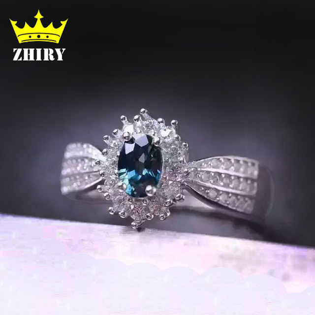 Natural Sapphire Stone Ring Genuine Solid Silver White Gold Plate Gems Jewelry Women Rings Birthstone ZHHIRY