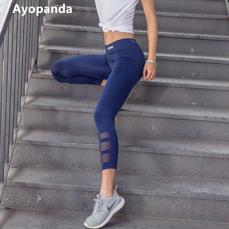 Ayopanda High Quality Reflective Running Tights For Women Hollow Out Mesh Capri Quick Dry High Waist Slimming Yoga Pants Legging trendy snow wash slimming elastic waist capri jeans for women