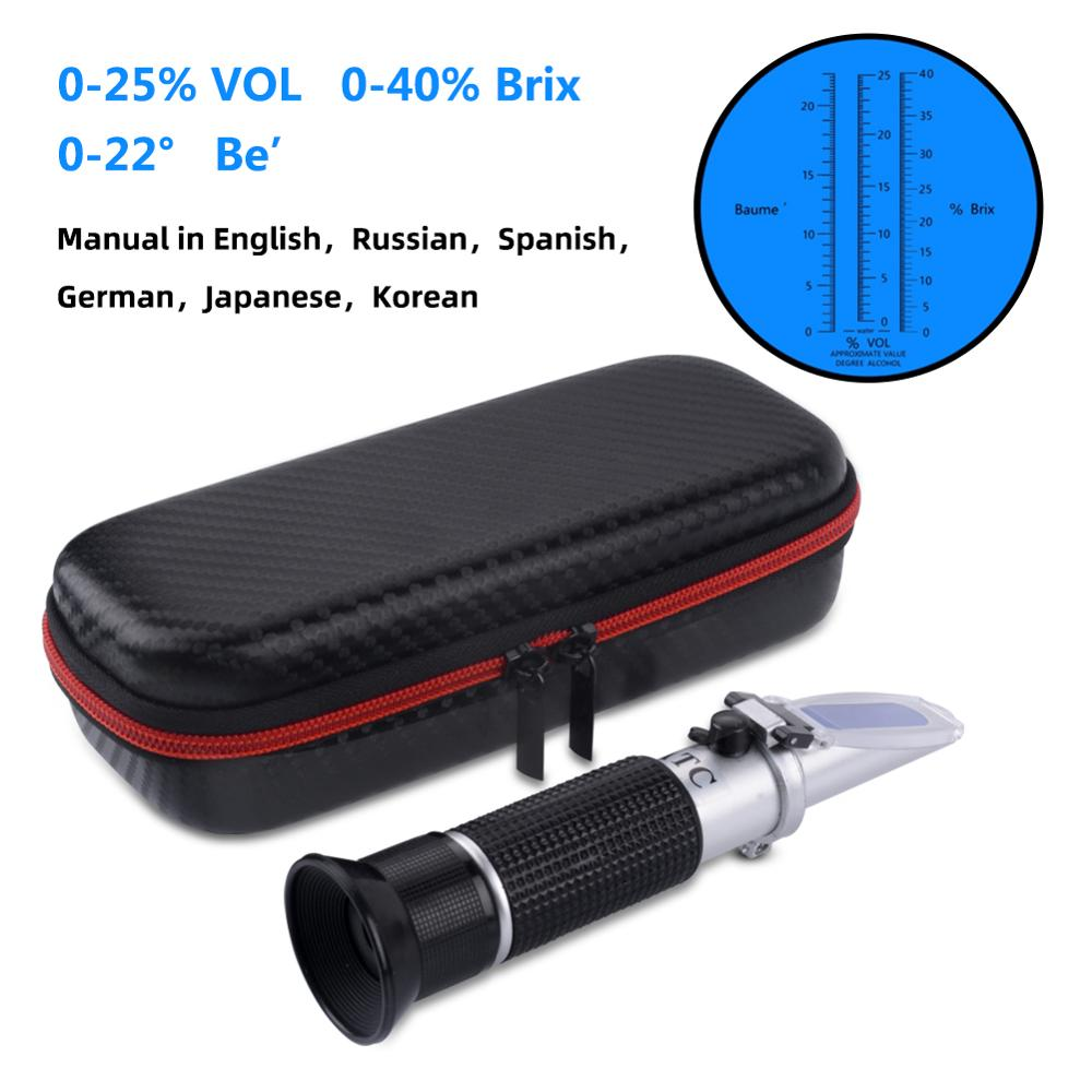 Nova Embalagem 3 Em 1 Hand Held Grape & Álcool Portátil Vinho Refratômetro (Brix, baume e W25V/V Escalas) Caixa À Prova de Choque