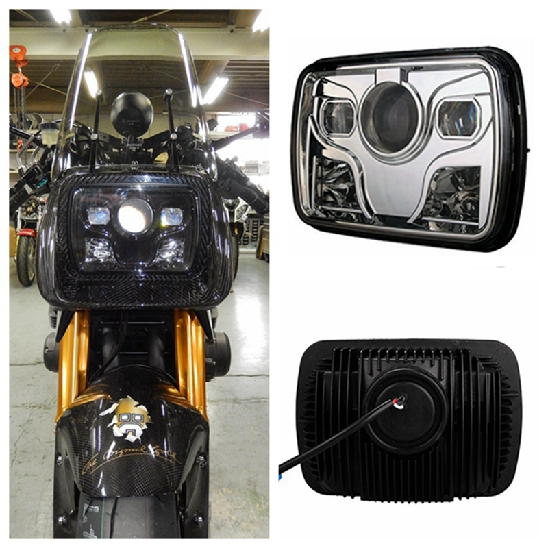 1pcs 5 x7 Square LED Headlights Projector with High Low Beam DRL Driving Lamp For Truck