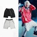 Ropa urbana streetwear kanye west hiphop justin bieber pantalones cortos de baile para los hombres negro/gris de moda de algodón elástico corto